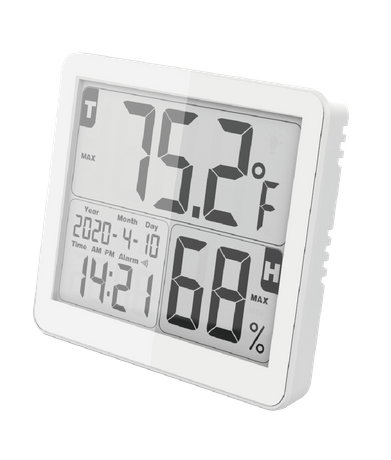 LCD Display Backlight Digital Indoor Thermometer and Humidity Monitor with Time and Alarm
