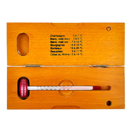Glass wine thermometer